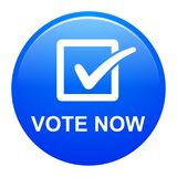 Vote now button. Vector illustration of vote now blue button icon on white background Royalty Free Stock Images