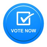 Vote now button. Vector illustration of vote now blue button icon on white background Royalty Free Stock Photos