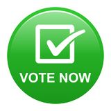 Vote now button. Vector illustration of vote now green button icon on white background Stock Images
