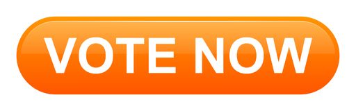 Vote now button. Vector illustration of vote now orange button icon on white background Royalty Free Stock Photography