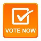 Vote now button. Vector illustration of vote now orange button icon on white background Stock Image