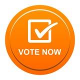 Vote now button. Vector illustration of vote now orange button icon on white background Stock Photo