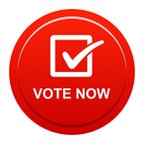 Vote now button. Vector illustration of vote now red button icon on white background Stock Photography