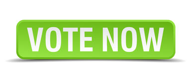 Vote now green square isolated button Stock Photography