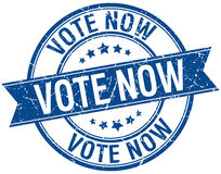 Vote now grunge retro blue stamp Royalty Free Stock Photography