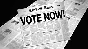 Vote Now! - Newspaper Headline (Reveal + Loops) stock footage