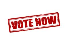 Vote now. Rubber stamp with text vote now inside,  illustration Royalty Free Stock Photography