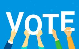 Vote and opinion poll concept vector illustration of young people happy voting. Flat human hands hold vote letters on blue background stock illustration