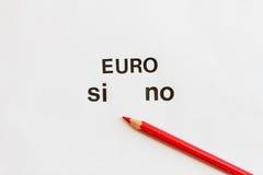 Vote para expressar a aprovação ou a recusa do uso do euro Imagem de Stock