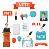 Vote political elections set of objects. Illustrations for campaign leaflets, web sites and flayers royalty free illustration