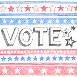 Vote President Election Sketchy Doodles Vector. Vote Presidential Election Back to School Style Sketchy Notebook Doodles with Stars and Swirls- Hand-Drawn stock illustration