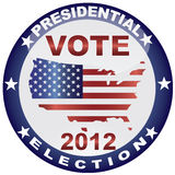 Vote Presidential Election 2012 Button. Vote Presidential Election 2012 with USA Flag in Map Silhouette Illustration Royalty Free Stock Photo