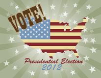 Vote Presidential Election 2012 USA Map. Vote Presidential Election 2012 with USA Flag in Map Silhouette  Retro Illustration Royalty Free Stock Photos