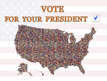 Vote on presidential election with map of USA Stock Images