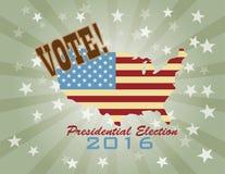 Vote 2016 Presidential Election Retro Vector Illustration. Vote Presidential Election 2016 with USA Flag in Map Silhouette Retro Vector Illustration Stock Image