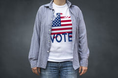 Vote Presidential Elections USA flag. Print on T-shirt. Royalty Free Stock Photos