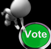 Vote Pressed Shows Poll Election Or Choosing. Vote Pressed Showing Poll Election Or Choosing Royalty Free Stock Photo