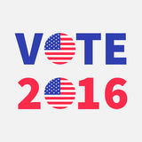 Vote 2016 red blue text Badge button icon with American flag Star and strip President election day. Voting concept. White. Background Card Flat design Vector royalty free illustration