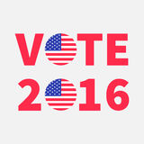 Vote 2016 red text Blue badge button icon with American flag Star and strip President election day. Voting concept. Isolated White. Background Card Flat design vector illustration