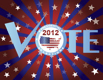 Vote Red White and Blue Stars Sun Rays Royalty Free Stock Photos