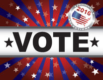 Vote 2016 Red White and Blue Stars Sun Rays and Banner Stock Images