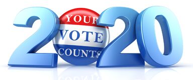 Vote 2020. Red, white, and blue voting pin in 2020 with Your Vote Counts text. 3d render