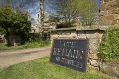 Vote Remain Sign for June 23rd 2016 European Referendum Brexit Campaign - South Newington, Oxfordshire, UK - 5th May 2016 stock photo
