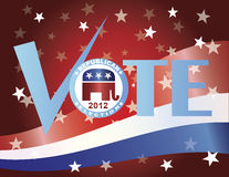 Vote Republican 2012 with US Flag. Vote Check Mark Text 2012 Republican with US Flag Background Stock Photo