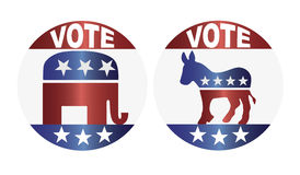 Vote Republican and Democrat Buttons Illustration. Vote Republican Elephant and Democrat Donkey Buttons Illustration Stock Image