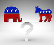 Vote republican or democrat. 3d render Royalty Free Stock Image