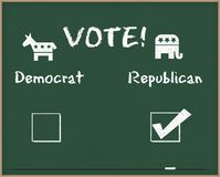 Vote Republican with Election symbols. Vote republican written on a chalk board Stock Images