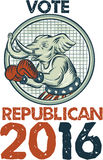 Vote Republican 2016 Elephant Boxer Etching. Etching engraving handmade style illustration of an American Republican GOP elephant boxer mascot boxing with boxing royalty free illustration