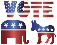 Vote Republican Elephant and Democrat Donkey Royalty Free Stock Images