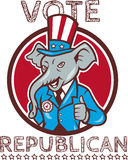 Vote Republican Elephant Mascot Thumbs Up Circle Cartoon Royalty Free Stock Images