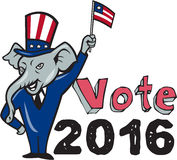 Vote 2016 Republican Mascot Waving Flag Cartoon. Illustration of a republican elephant mascot of the republican grand old party gop smiling looking to the side Royalty Free Stock Image