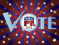 Vote Republican Red White and Blue Stars Sun Rays. Vote Republican 2012 Red White and Blue Stars Stripes Sun Rays Banner Illustration Royalty Free Stock Photos