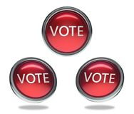 Vote glass button. Vote round shiny red 3 angle web icons with metal frame,3d rendered isolated on white background Stock Photos