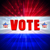 Vote with shining american flag and stars Stock Photos