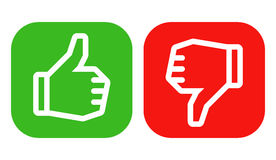 Vote sign. Thumbs up and down icons on colored backgrounds. Icons are aligned according to the pixel grid. It means that the images are prepared to use in small Stock Photos