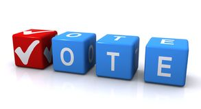 Vote sign with tick mark Stock Photos