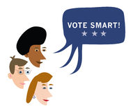 Vote smart advice. Profiles of three people talking and a single speech bubble Vote Smart word. Additional format download contains Adobe Illustrator .ai file Royalty Free Stock Images
