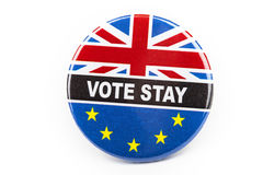 Vote Stay Badge. LONDON, UK - JUNE 16TH 2016: A Vote Stay pin badge over a white background- referring to the upcoming Referendum on the UK's membership in the Stock Image