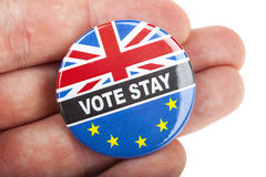Vote Stay Badge. LONDON, UK - JUNE 16TH 2016: A Vote Stay pin badge - referring to the upcoming Referendum on the UK's membership in the European Union, taken Stock Images