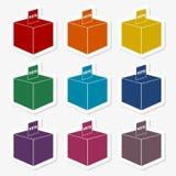Vote stickers set vector illustration