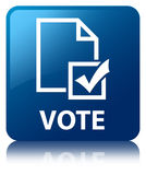 Vote (survey icon) blue square button Royalty Free Stock Images