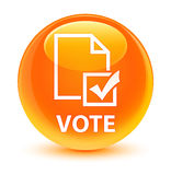 Vote (survey icon) glassy orange round button Royalty Free Stock Image