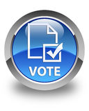 Vote (survey icon) glossy blue round button Royalty Free Stock Image