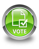 Vote (survey icon) glossy green round button Stock Photography