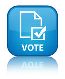Vote (survey icon) special cyan blue square button Stock Image