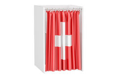 Vote in Switzerland concept, voting booth with Swiss flag, 3D re Stock Photography